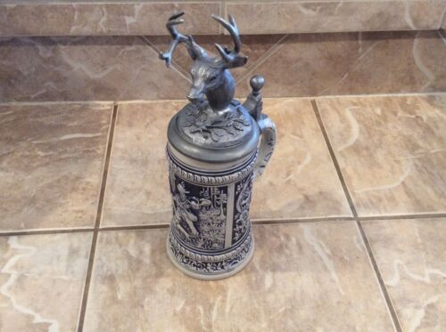 MICHAEL RICKER LARGE PEWTER ELK HEAD LIDDED COLLECTIBLE GERZ GERMANY STEIN