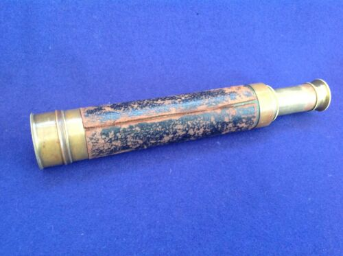 "ANTIQUE 29"" 3 DRAW MADE IN FRANCE BRASS SPYGLASS TELESCOPE GREAT OPTICS"