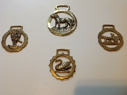 4 EQUESTRIAN HORSE BRIDLE BRASS MEDALLIONS