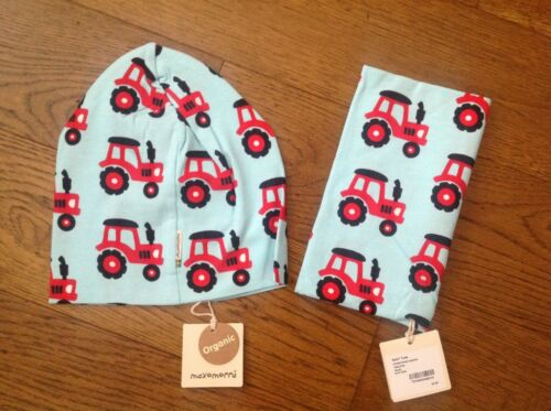 Maxomorra Hat & Scarf Tube - - Tractor print on Pale Blue-  up to 24 months