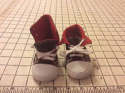 (Sneaker Baby Sz1 Brown Hightop Infant Shoes Bootie 100% Cotton Fold Down Lace Up)