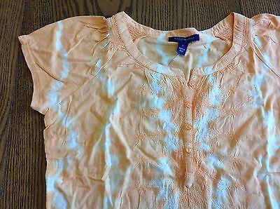 BANDOLINO womens shirt ORANGE tie-dye peasant top ~ MEDIUM