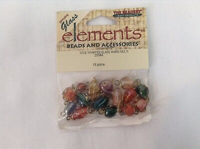 Elements Beads and Accessories Wire Wrapped Glass Warm Multi 15pc 18 grams