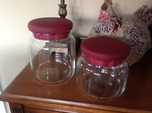 Two glass storage containers.