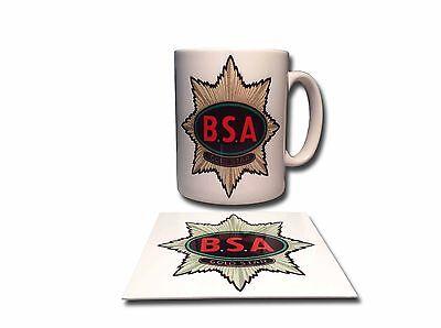 BSA GOLDSTAR CERAMIC MUG PLUS **FREE** ENAMELLED FINISH COASTER,RETRO.