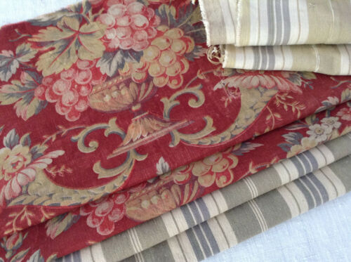 Antique Vintage French Fabric Coordinates bundles project Ticking  Floral