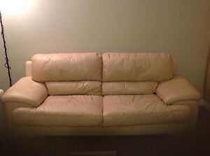 BEIGE LEATHER SOFA ...MUST GO A.S.A.P