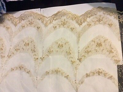 Double border print organza tulle embroidered gold flowers, 52