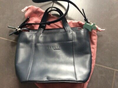 Vintage Radley French Navy Leather Handbag with Shoulder Strap