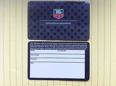 (1) TAG Heuer OEM Blank International Warranty Guarantee Card -Worldwide Ship