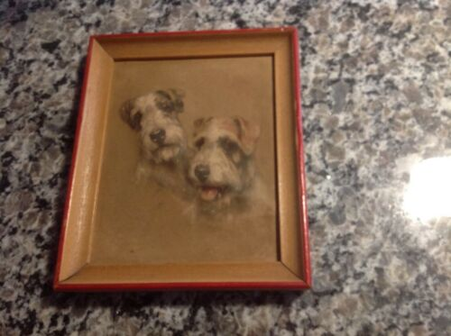 Vintage 1940s Sealyham Terrier framed art;2 Terriers,puffy,dimensional,5x6;SWEET