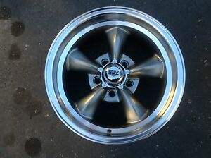 15x7s-GRAY-NEW-REV-CLASSIC-RALLY-WHEELS-FOR-FORD-mustang-ranchero-fairlane