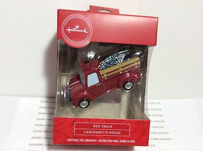 HALLMARK RED TRUCK ORNAMENT 2020 New in red Window Box With Christmas Tree