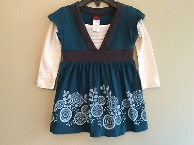 Baby Girls Long Sleeved Dress (Baby Girls TEA Collection Blue Green and Gray Long Sleeved Dress Size 3-6)