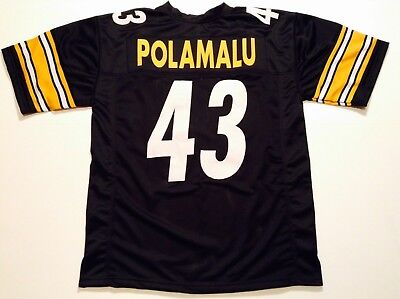 UNSIGNED CUSTOM Sewn Stitched Troy Polamalu Black Jersey - M, L, XL, 2XL