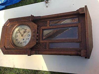 1930's Vintage Oak Wall Clock with  Pendulum