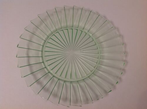 "Jeannette Glass Co, Sierra Pinwheel 9"" Green Dinnerplate 1931-1933 Exc. Cond."