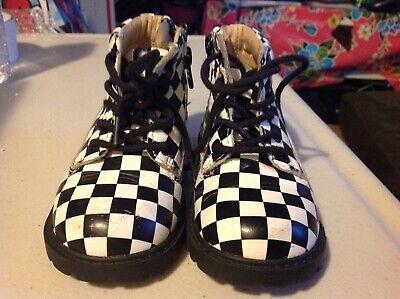 Nice AKID Checkerboard Boots Black & White 2 tone Ska Boys Girls US Toddler sz 7