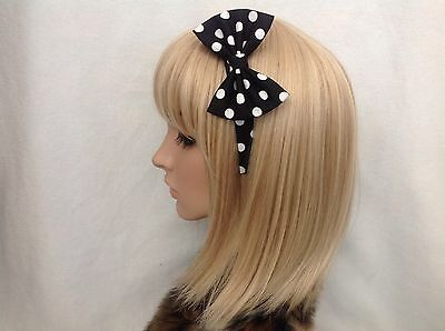 Black white polka dot headband hair bow rockabilly pin up girl gothic vintage  - Black And White Polka Dot Headband