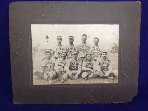 RARE ANTIQUE BASEBALL CABINET CARD PHOTOGRAPH ODD FELLOWS TEAM CEMENT OKLAHOMA