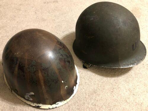 Vintage Surplus WWII Korea US Military M1 Helmet with liner crack on right side