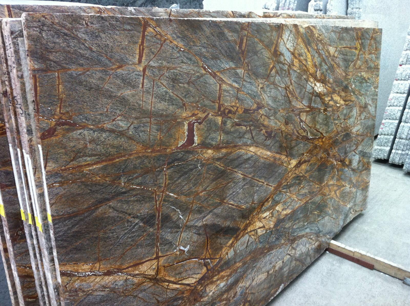 Tischplatte in marmor naturstein rainforest brown f r for Couchtisch 3 platten