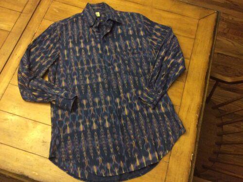 Vintage Artexco Handmade Guatemalan Aztec Woven 100% Cotton Men Shirt M Medium