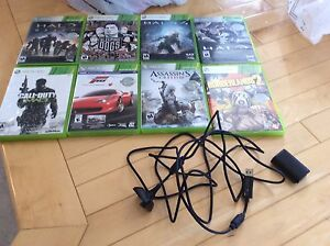 8 Xbox 360 games and battery charger pack