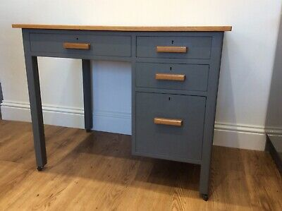 Vintage Painted wooden desk with four drawers on wheels