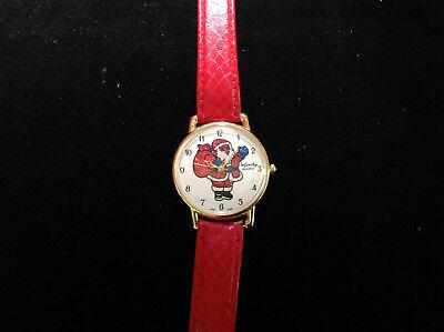 Weihnachtsmann Goldfarben Rund Gesicht Rot Lederarmband Armbanduhr 8.5