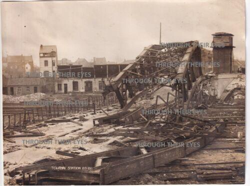 Original WW1 photo Bombed Railway station  Tournai France 1918 WWI
