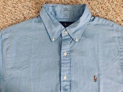 NWT Men's Polo Ralph Lauren Short Sleeve Shirt Chambray Oxford Slim Fit  L, XL