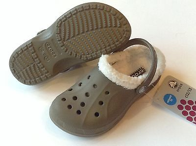$35 Crocs Feat / Ralen Lined Kids Boys WALNUT Oatmeal C6/7 J1 CLEARANCE - Clearance Boys