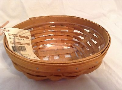 Brown Oval Basket - WARM BROWN Oval Booking Catch All Basket & Protector Longaberger New