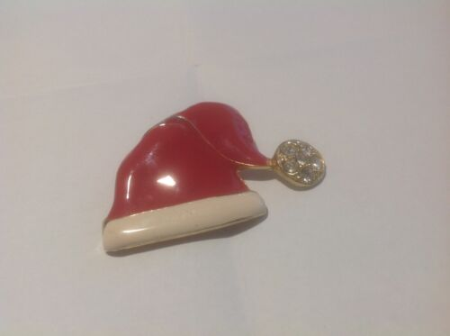 Santa Claus Enamel Hat Brooch/Pin With Clear Glass Stones