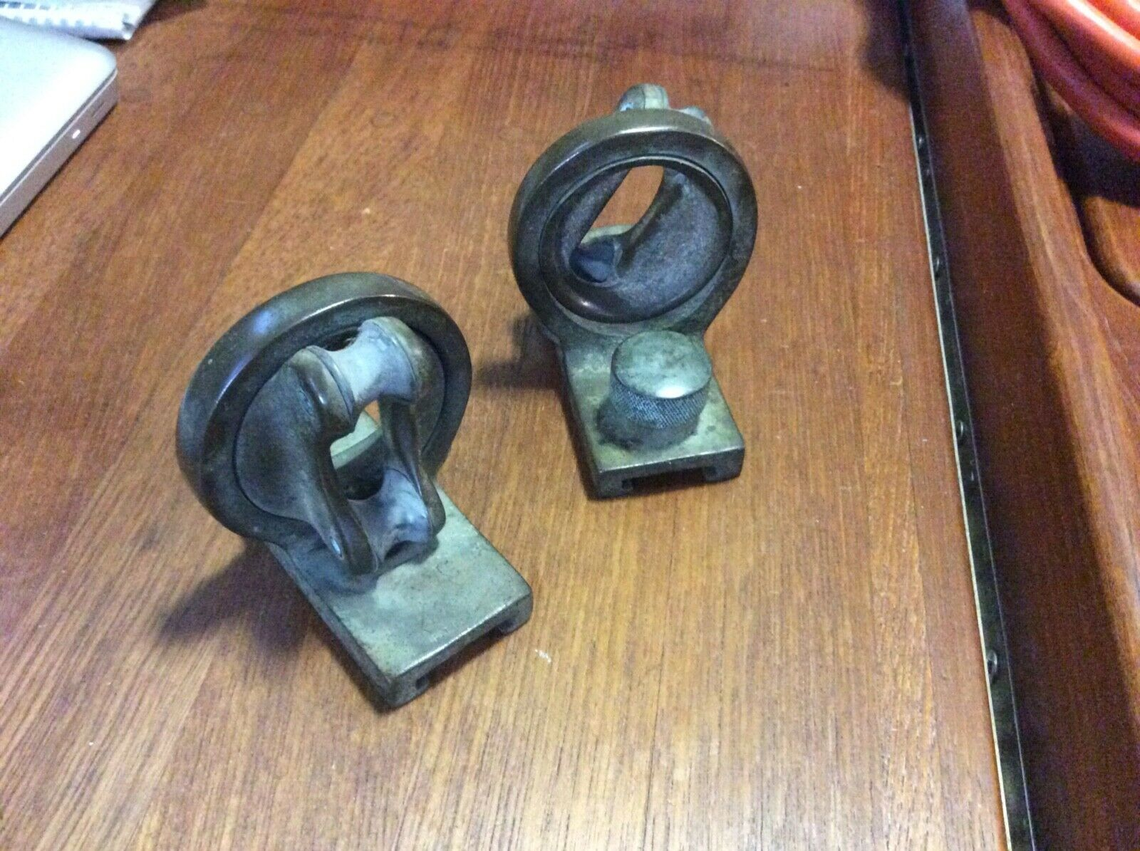 "Pair of sailboat bronze swivel track cars for 1"" track RARE!"