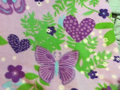Purple Butterfly Flower - Butterfly heart flower fleece fabric with a purple background, 60