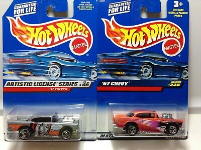 HOT WHEELS '57 CHEVY 2000 #228  ARTISTIC LICENSE SERIES 1998 #730 - LOT OF 2