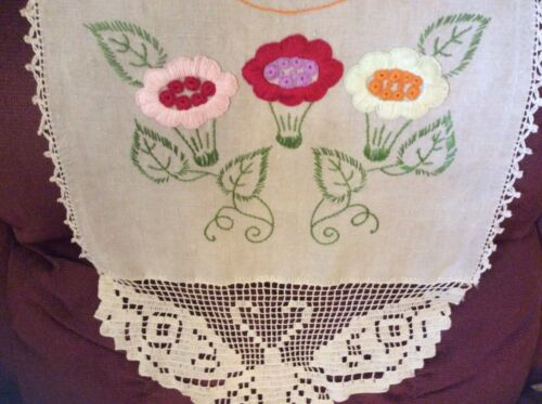 Antique Ecru 16x68 Arts Linen Table Runner Piano Scarf Embroider Butterfly Lace