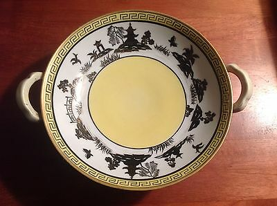 Willow Border - Nippon Blue Willow - Yellow Willow Variant - Greek Key Border 2 Handled Bowl