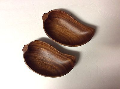 NEW Monkey Pod Wood Tray One Hand Carved Leaf Tray 1980's Vintage Philippines
