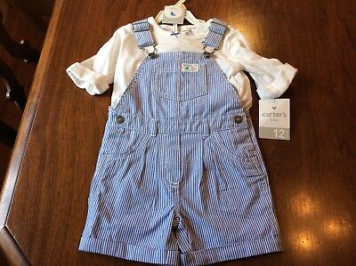 🦋NWT Carter's Baby 2 Piece Fresh Picked Hickory Stripe Overalls Top Set 12 M
