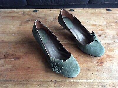Bershka, Ladies, Green Suede Shoes, Size 4 / 37 na sprzedaż  Wysyłka do Poland