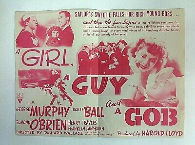 Vintage 1941 Movie Herald  A GIRL A GUY AND A GOB Lucille Ball RKO Romance (A Girl A Guy And A Gob)