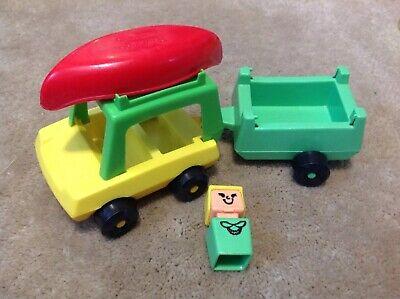 Playskool #385 Yellow Car Trailer And Canoe Campin
