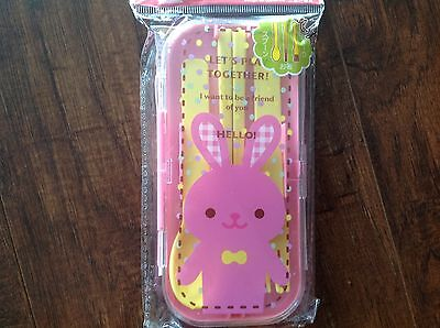 NEW KIDS TRIPLE CUTLERY SET SPOON/FORK/CHOPSTICK WITH CASE  YELLOW/BUNNY
