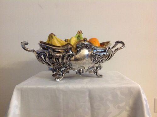 Antique German Jewish Posen 800 solid silver centrepiece fruits bowl Rococo