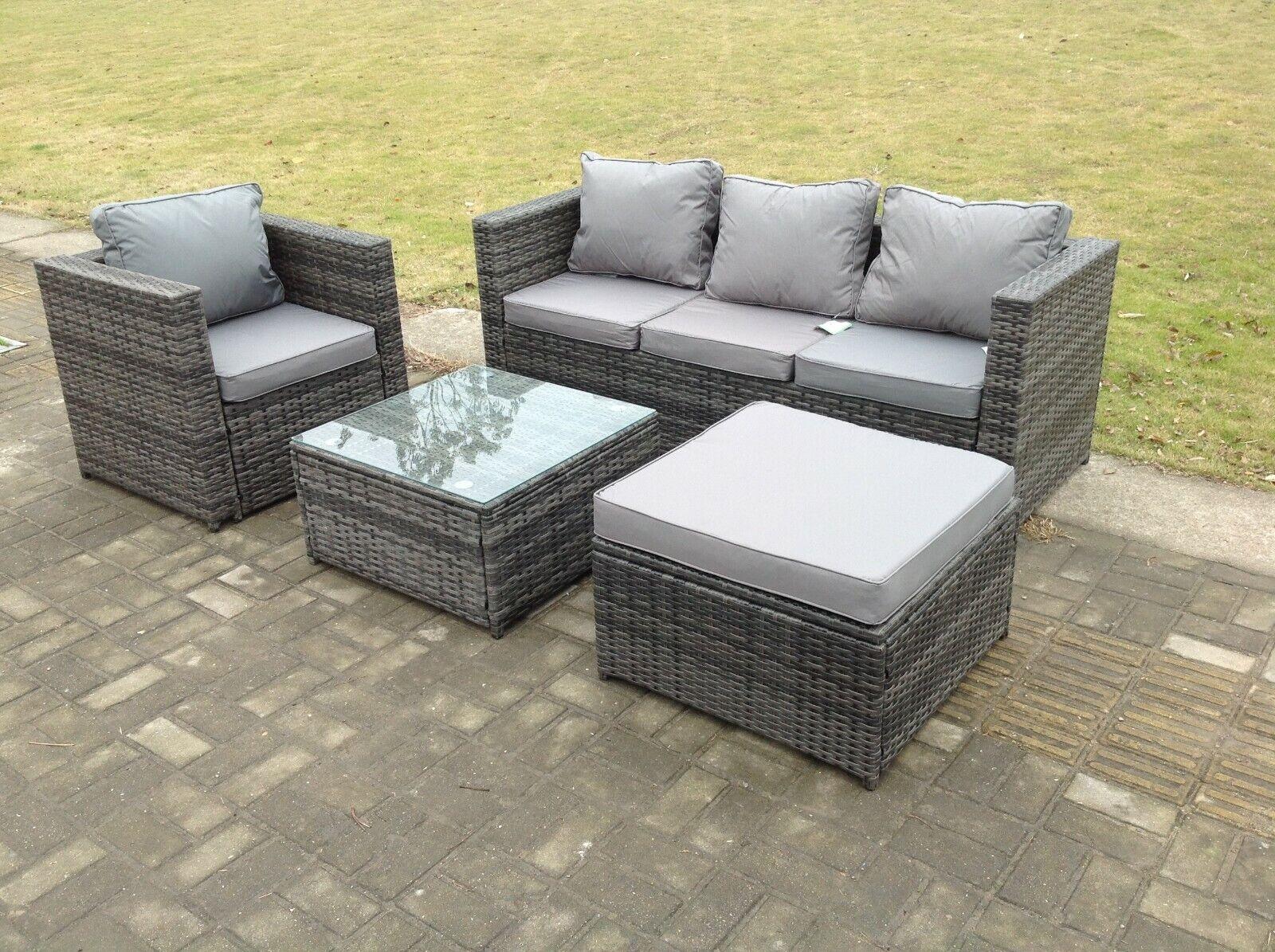Garden Furniture - Lounge rattan sofa coffee table set outdoor garden furniture patio grey