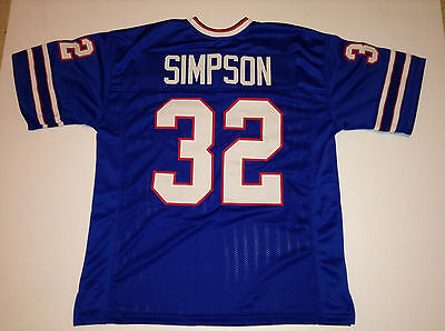 Unsigned Custom Sewn Stitched O J  Simpson Blue Jersey   M  L  Xl  2Xl