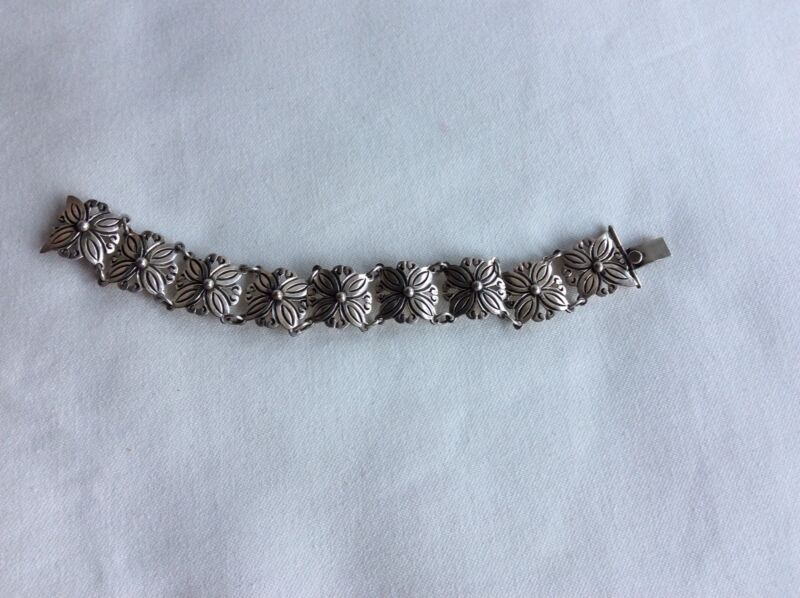 "Sterling Silver 925 RCA Mexico  7"" Ornate Bracelet 23.9 gram"